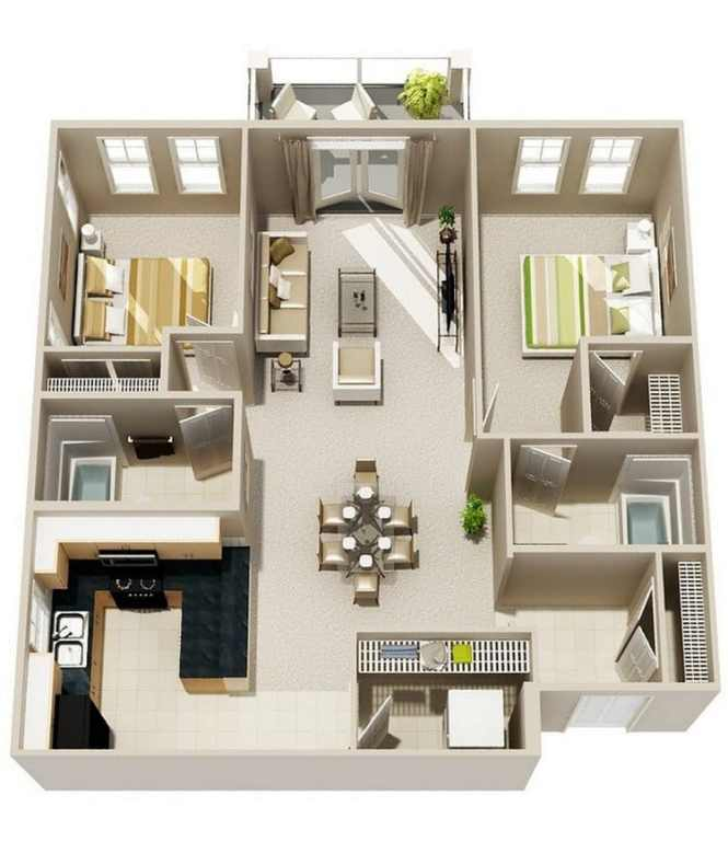 20 Awesome Apartment Plans With Two Bedrooms Part 2