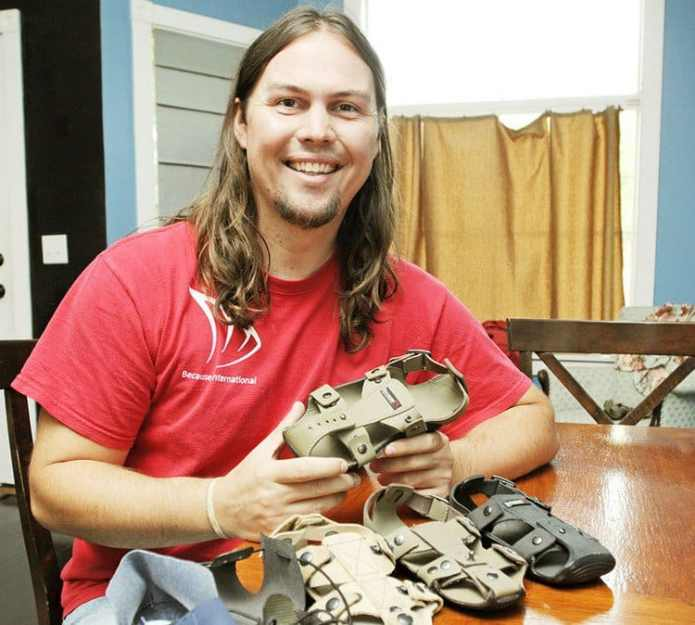 Man invents shoes that enlarges in size every year to fit the legs of its owners