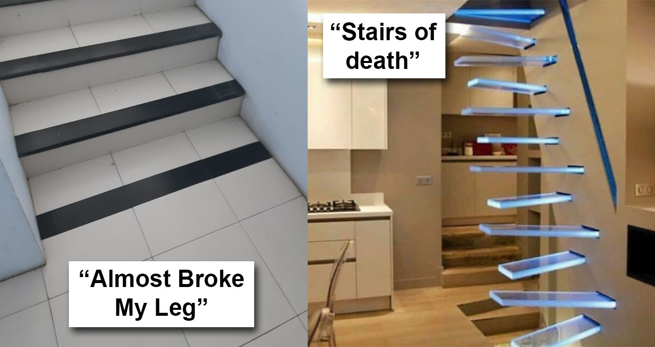 40 Bad Stair Designs That Definitely Need A Rethink | Double Staircase House Plans | Bedroom | First Floor | Residential | Blueprint | Modern