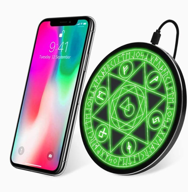 qi certified phone charger light up green
