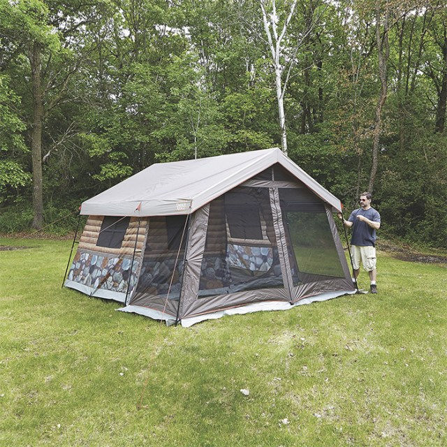 log cabin tent with front porch
