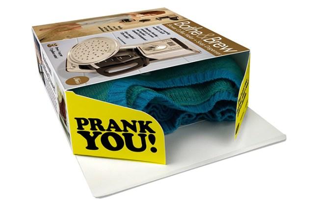 real gift inside bathe & brew prank gift box