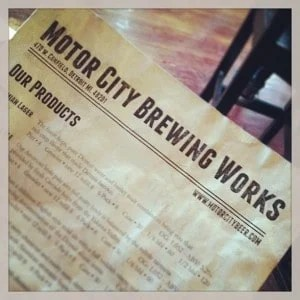 Motor City Brew Works menu. Photo courtesy of Rachell Weeks.