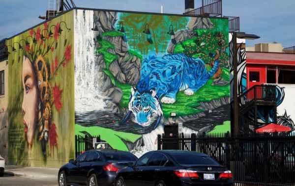 Exploring detroit murals for a free art show in the motor for Enjoy detroit mural