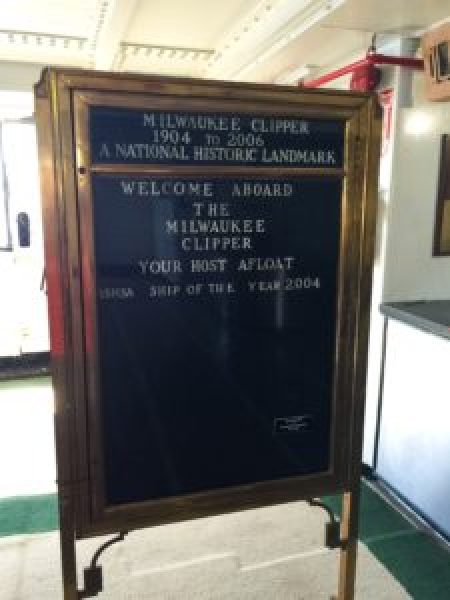 The welcome sign aboard the S.S. Milwaukee Clipper. Photo courtesy of Jennifer Polasek.