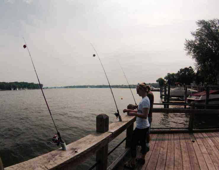 Dock Fishing from Muskegon Pier. Photo by Michele Eichstead