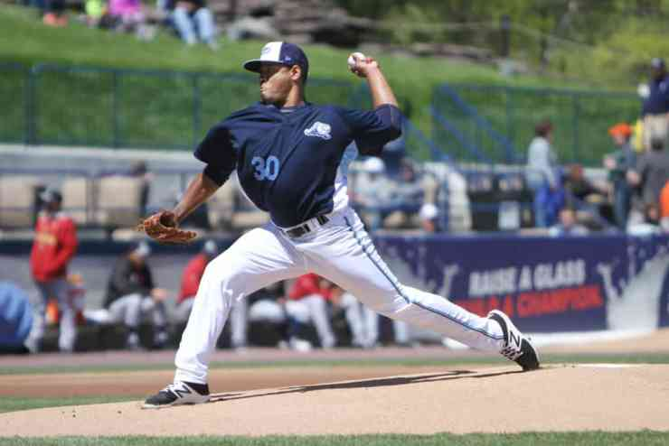 Whitecaps Pitcher Gregory Soto. Photo Courtesy of West Michigan Whitecaps - The Awesome Mitten