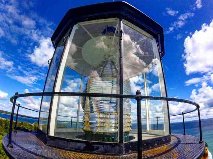 A closer look at the Fresnel lens on South Manitou Island Light. Photo courtesy of Jordan Fuller
