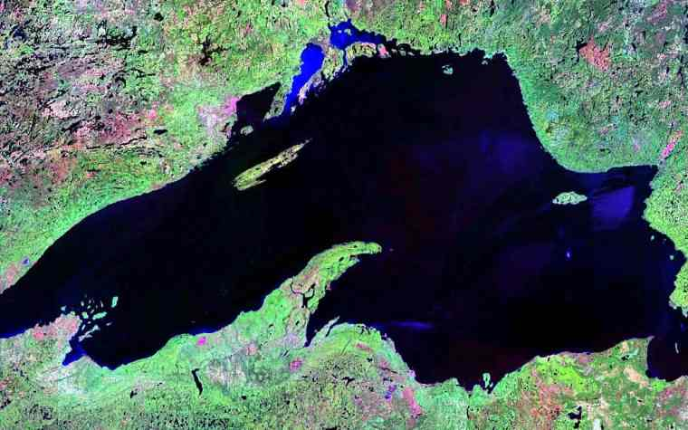 Satellite image of Lake Superior. Photo courtesy of NASA