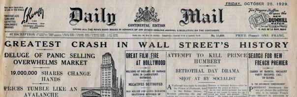 """Image result for 1929 – """"Black Thursday"""" stock market crash on the New York Stock Exchange."""