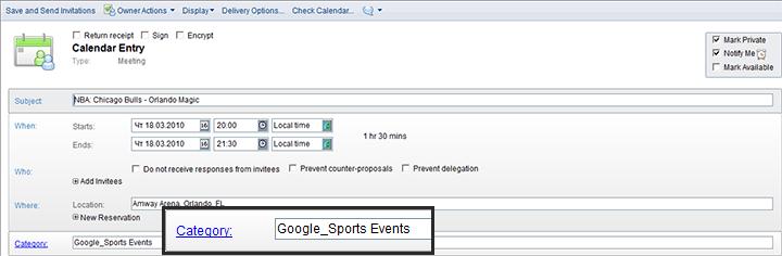 Google Calendar Name Matches Lotus Notes Category