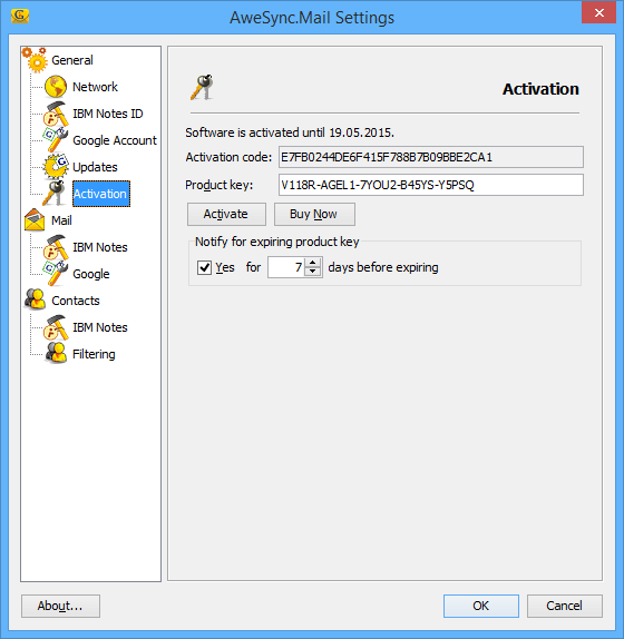 AweSync.Mail Settings - Activation
