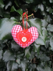 gingham heart fabric Christmas decoration