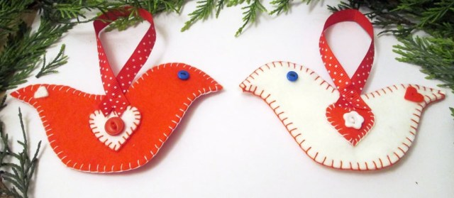 felt bird christmas decoration