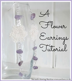 collage crocheted flower earrings