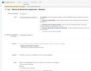 Interface d'administration Google Adwords