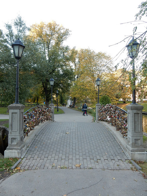 Love lock bridge in Bastejkalna Park in Riga, Latvia