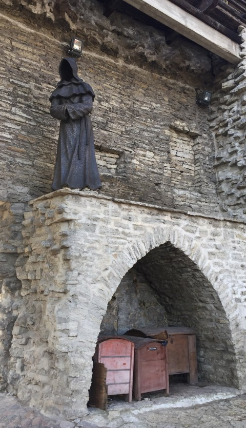 Creepy but cool monk statues at the Danish King's Garden. Tallinn, Estonia