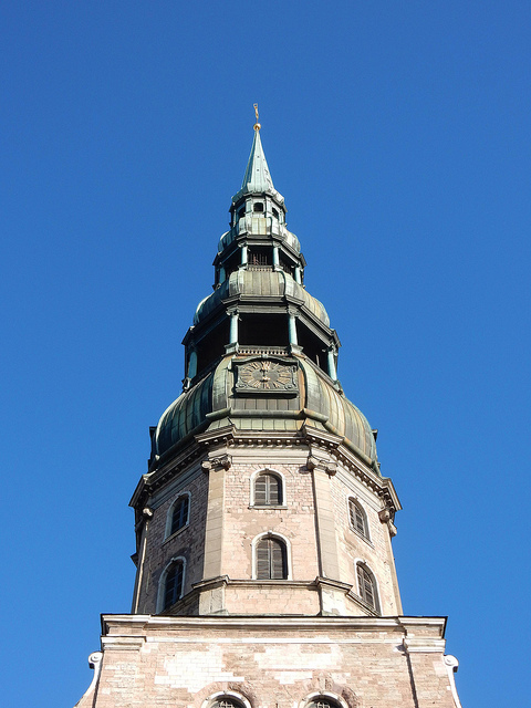 View of St. Peter's Church from Town Hall Square in Riga, Latvia