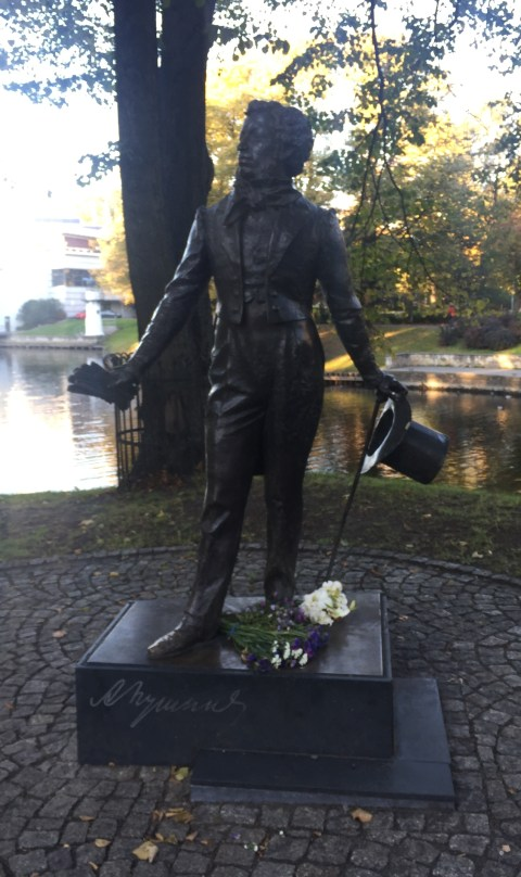 Statue of Alexander Pushkin by Alexander Tartynov in Riga, Latvia