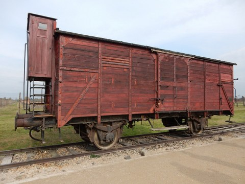 Cattle car used to transport prisoners to the camp. Auschwitz. Poland
