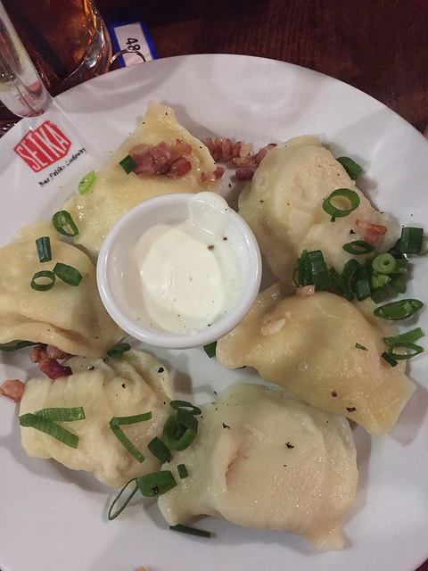 Pierogies at Setka in Wroclaw, Poland