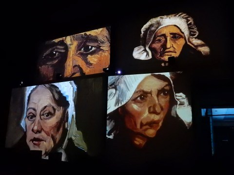 Van Gogh Alive exhibition in Wroclaw, Poland. Peasant Character Studies