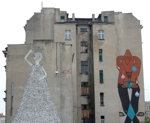 Statue of Enslavement mural by Blu in Wroclaw, Poland