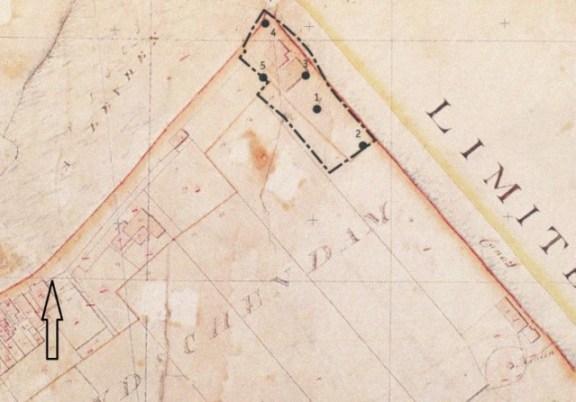 Afb. 2. Minuutplan van de gemeente Stompwijk uit 1819 waarop op het onderzochte terrein een gebouw is ingetekend (bron, De Groot 2007).