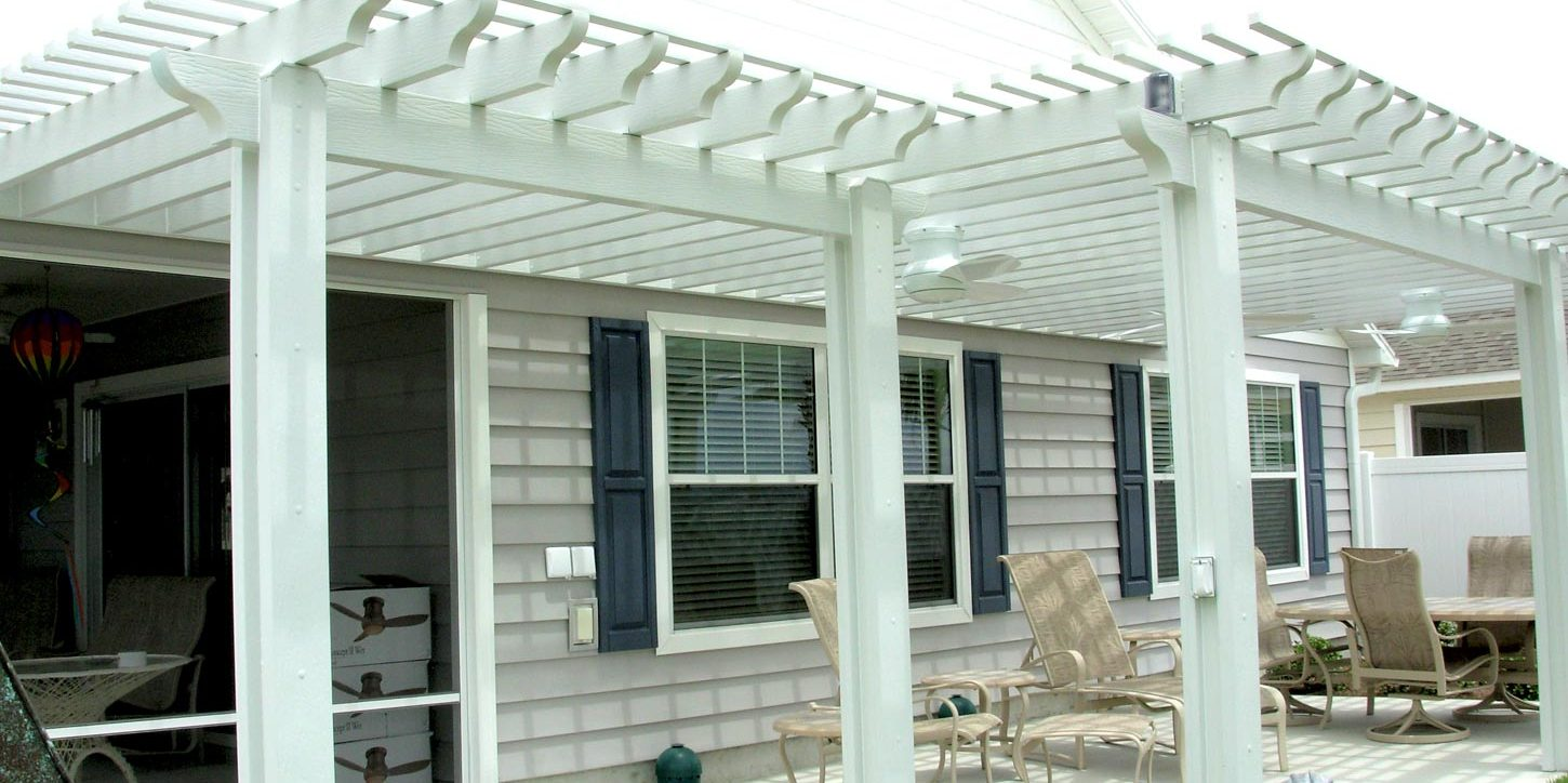 faux wood trellis with optional cover