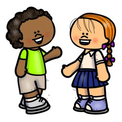 Language learning strategy oral language: Two kids speaking.