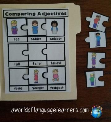 comparing adjectives file folder puzzle