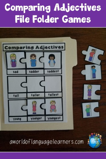 comparing adjectives file folder games