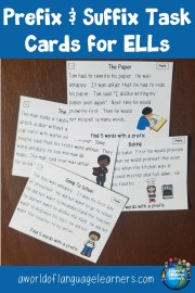 Prefix and Suffix Task Cards for ELLs