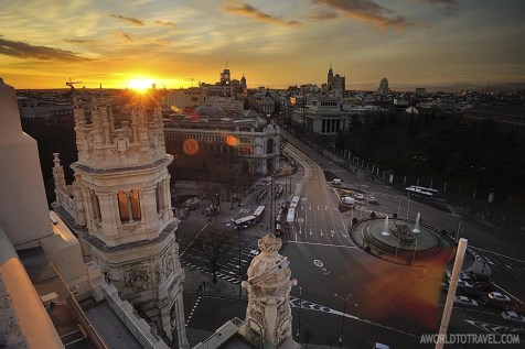 Madrid sunset postcard from Circulo de Bellas Artes rooftop - A World To Travel 4