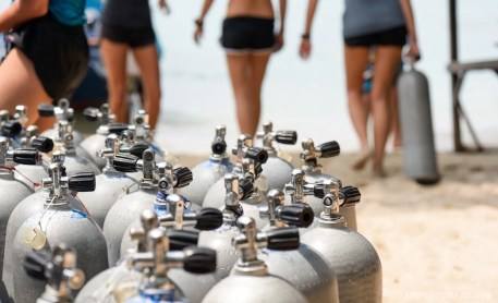 Oxygen tanks at Big Blue Diving Koh Tao School, Thailand.