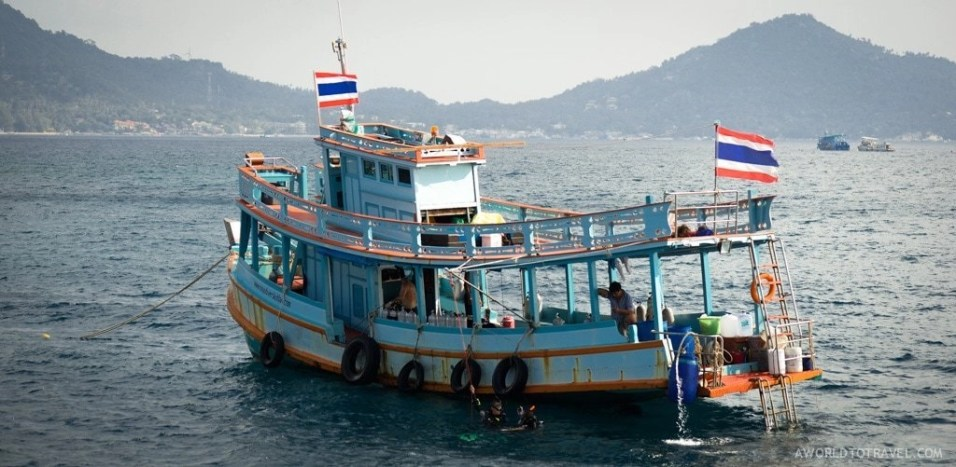 Another scuba diving school's boat as seen from Big Blue Diving Koh Tao's one.