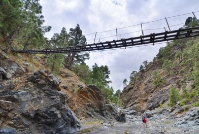 A pending bridge at Caldera de Taburiente hiking trail, La Palma
