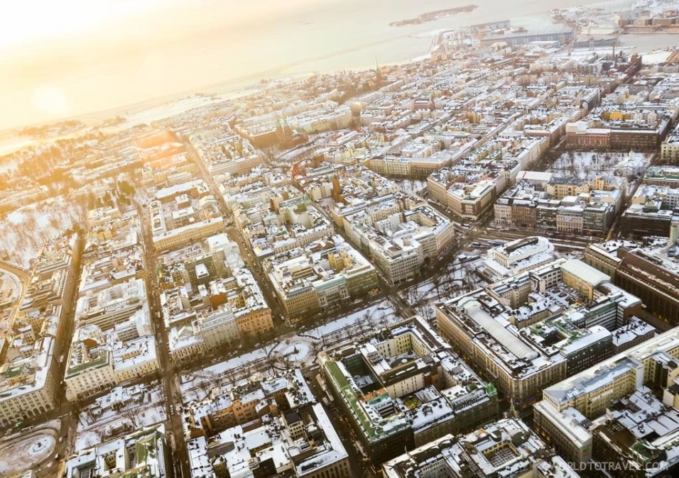 Helicopter ride over Helsinki, Finland, in winter.