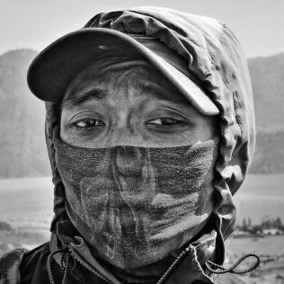 Bromo local. A mask is a must when your work place is full of volcanic dust and sulphure.