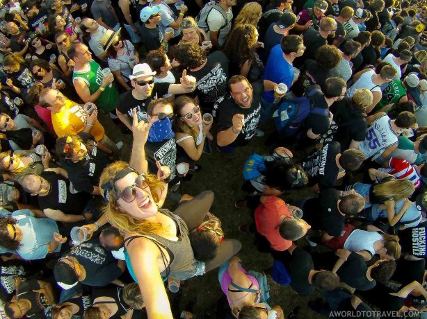 Birds Eye shot of girl and crow at Resurrection Festival 2016 - A World to Travel