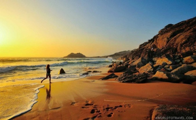 Castros de Baroña beach at sunset - Galicia - A World to Travel