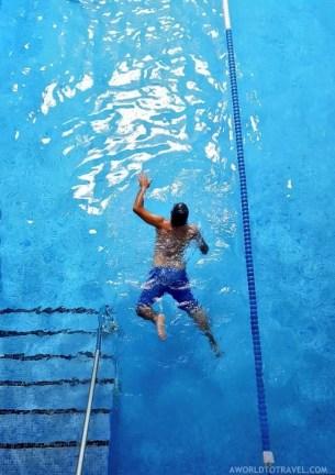 Jose swims at Guitiriz Spa - A World to Travel