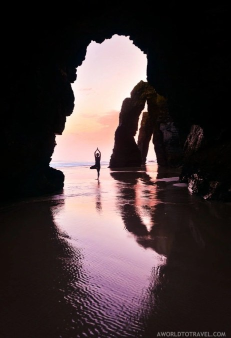 Tree yoga pose - Cathedrals beach at sunrise - Ribadeo - Galicia - A World to Travel