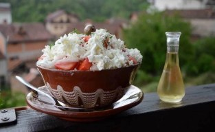 Food - Shopska salad and Rakija - Macedonia Travel Guide - A World to Travel