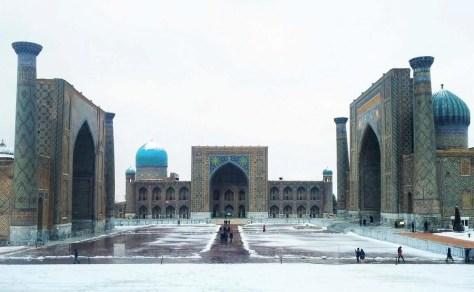 Registan in the snow - Samarcanda - Uzbekistan - Silk Road Travel - A Central Asia Overland Trip - A World to Travel