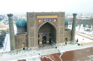 Registan in the snow - Uzbekistan - Silk Road Travel - A Central Asia Overland Trip - A World to Travel