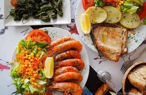 Seafood at A Marina Muxia restaurant in Galicia - A World to Travel