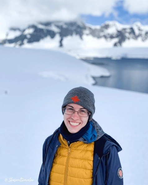The author Alexis Cannella in Antarctica