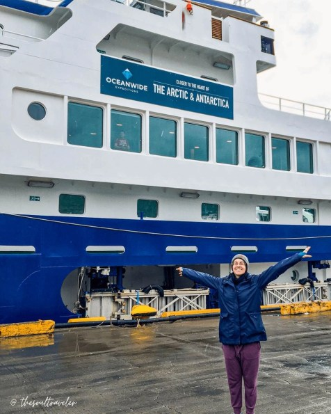 The cruise ship the author embarked on to visit Antarctica